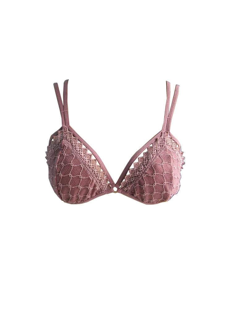 Top renda rose frente Copia - Top strappy renda rosé